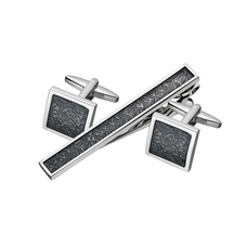 Black Patterned Cuff Links and Tie Clip Set