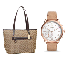 Coach Signature Taylor Tote -Khaki/Brown with a Ladies' Hybrid Smartwatch Q