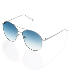 Vasto Large Metal Sunglasses with Gradient Blue Mirror lenses