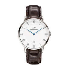Men's Dapper York Leather Watch - SILVER