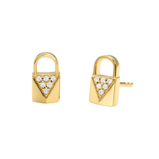 Precious Metal-Plated Sterling Silver Pave Lock Studs