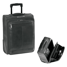 Luxurious Italian Leather Carry-On with 15.4'' laptop sleeve - BLACK