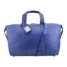 Leather Overnighter Bag - NAVY