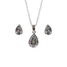 Set of Teardrop Zirconia Crystals Necklace & Earrings