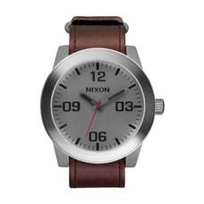 Men's Corporal Leather Watch - SILVER/BROWN