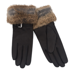 Small Women's Nahla Gloves with Fur - BLACK