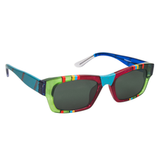 Ronit's Hand-Painted Blue/Green/Pink Sunglasses