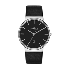 Men's Ancher Leather Watch - BLACK