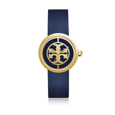 Reva Watch Navy Leather/Gold-Tone