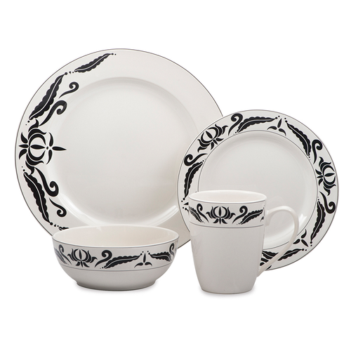 16-Piece Stoneware Dinnerware - Windflower Collection
