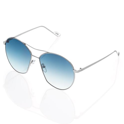 Vasto Large Metal Sunglasses with Gradient Blue Mirror lenses