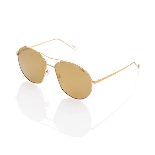 Vasto Large Metal Sunglasses with Gold Mirror lenses