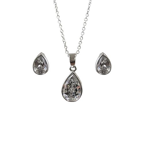 Set of Teardrop Zirconia Crystals Necklace & Earrings